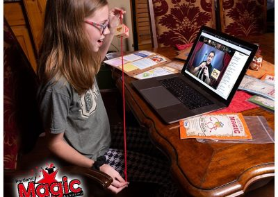 girl participates in online class