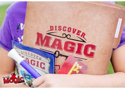 magic class folder, wand, instructions, and key card